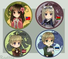 Hetalia Button set 3 by Radittz