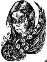 Day of the Dead Portrait- Raven Queen by rawjawbone