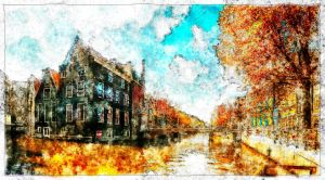Amsterdam Canal Water color by Azadn