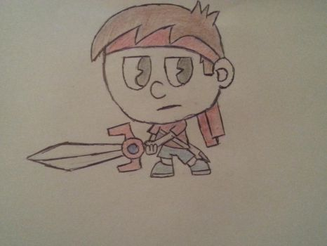 Eddie with his sword at hand by TheUnlikelyHuman