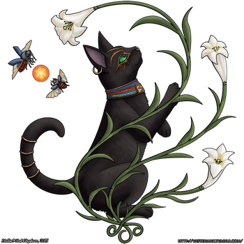 Bastet Among the Lilies by StellarWind