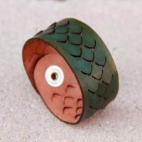 Smooth Scales Leather Bracelet by DracoLoricatus