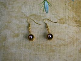 Steampunk Industrial Earrings Purple Pearl Bead by bcainspirations