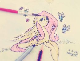 Fluttershy in Watercolour by PlatinumPoinsetta