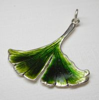 Ginkgo leaf pendant by nellyvansee