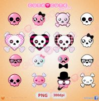 Kawaii Skull Clipart pack by Pablobellas