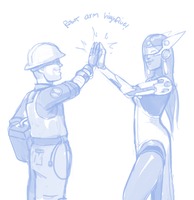 ROBOT ARM HIGHFIVE by BellaCielo