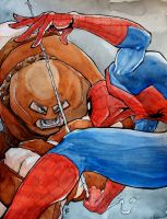 Spiderman vs. Juggernaut by MatthewFletcher720