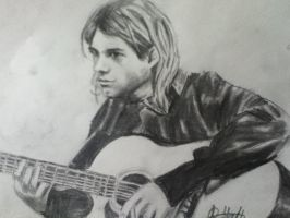 Kurt Cobain playing guitar by MysticElfProductions