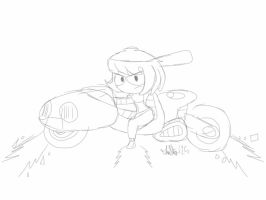 Unfinished: Eria On A Motorcycle by TheIransonic