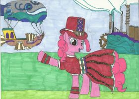 Pinkie Pie's Balloon Ride(Steampunk) by Snowblitz227