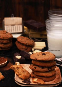 Old Classic - Milk And Chocolate Chip Cookies by theresahelmer