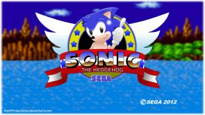 Sonic the hedgehog 1 HD-title screen (with sonic) by MarkProductions