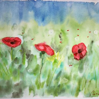 Poppies and Dandelions by skylar76
