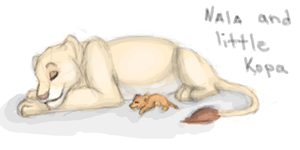 Nala and little Kopa by L1nWerewolfess