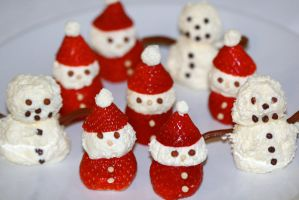 Strawberry Santas and Whipped Cream Snowmen by mikedaws