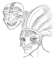 Carthaginian Mask and Priest Sketches by BrandonSPilcher