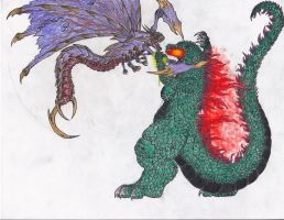 Request #4 - Godzilla VS Megaguirus by BurningG-HellOnEarth