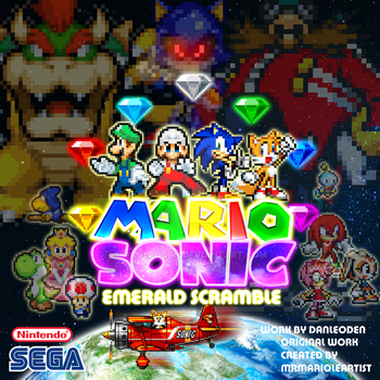 Mario and Sonic Emerald Scramble poster remastered by Danleoden