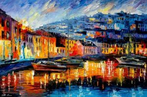 Blue Harbor oil painting on canvas by L.Afremov by Leonidafremov
