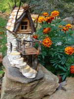 Beach Pebble Stacked Stone Fairy House by TrilbyWorks