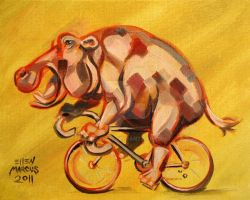 Hippo On A Bicycle by ellemrcs