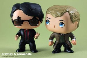 Crowley and Aziraphale Custom Funko (Good Omens) by Armeleia