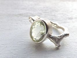 Green Amethyst Branch Ring by Siihraya