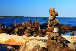 Rye Rock Cairns by Celem