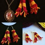Knitted Harry Potter Gryffindor earrings  by TinyPinkPadlock