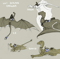 WWI biplane dragons by ormery