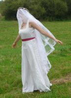 bride on a field - veil + wind 1 by indeed-stock