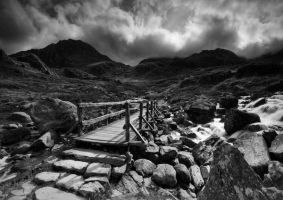 The Bridge to Tryfan - Mono by DL-Photography