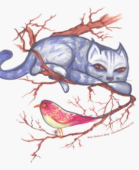 Cat and Bird by MaryDoodles