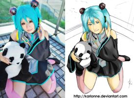 japanese cosplayer 2 color WIP by karlonne