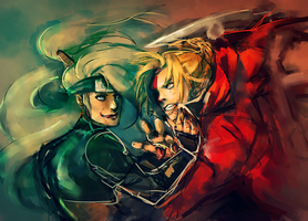 Commission: Deidara + Edward Elric by gravitybeams