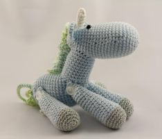 Little Blue and Green Jointed Amigurumi Unicorn by karenscrochetcorner