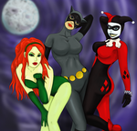 ivy, cat woman, and harley by Nette-Yoon