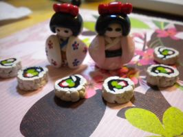 Japanese Dolls and Sushi by exeriox