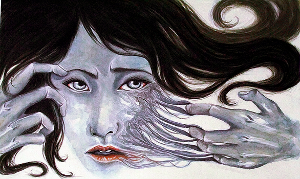 Surreal Tearing Face Painting by saesouki