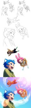 Flying cat, bunny, and fish by Mikeinel