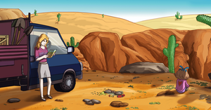 Sandra and Caroline in the desert by COWCATGames