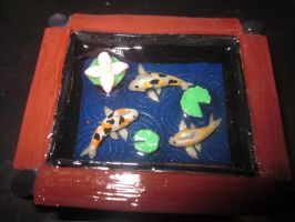 Polymer Clay Koi Fish Pond 2 by Darklunax110