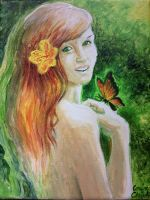 Girl with butterfly painting by CORinAZONe
