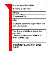 Javari's Most Wanted List by MarxSoul324