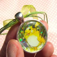 Super cute Raichu holographic Pokemon card pendant by KawaiiMoon24