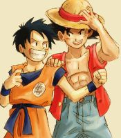 Goku and Luffy by Darkneel