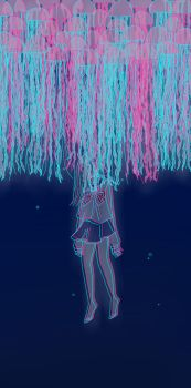 Drowning in a sea of jellyfish by nalu-art