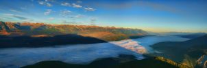 Sunrise in a Valley 2 Pic Pano by Joe-Lynn-Design