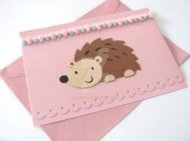 Kawaii Cute Hedgehog Pink Card by SabrinaDeeBerry